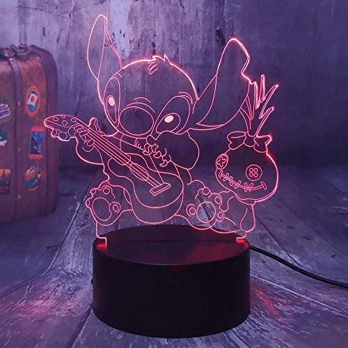 Cartoon Figur Stich 3D Led Nachtlicht Happy Stitch Gitarre spielen mit Freunden Scrump Schlaf Schreibtischlampe Wohnkultur Kind Geschenk