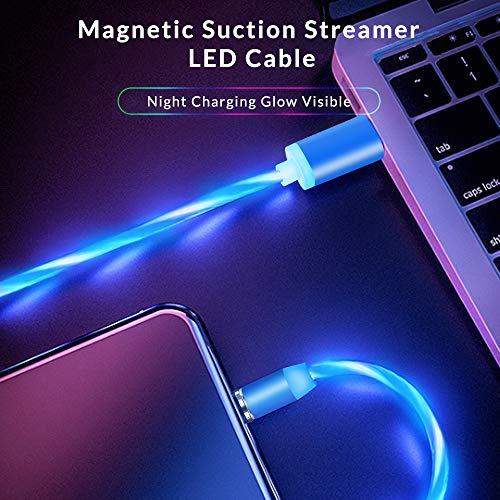Kyerivs Magnetisches Ladekabel mit Sichtbar fließendem LED Licht Micro USB Ladekabel Typ C Lighting 3 in 1 Kabel kompatibel für Phone No Sync Data(2m/6.6ft, Blau)