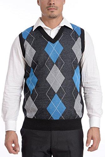 TR Fashion Men's Soft Stretch Argyle V-Neck Casual Pullover Vest (Charcoal/Blue, Large)