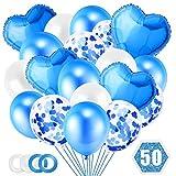 O-Kinee Globos Azules, 50 Piezas Globos Confeti Azul Set, Globo de Lámina de Corazón Azul para Baby Shower, Bodas, Eventos de Negocios, Globo de Cumpleaños Fiesta Decoración