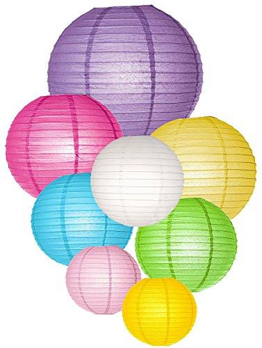 LIHAO 8x Papier Lampions Laterne Lampenschirm Hochtzeit Party Dekoration Ballform (verschiedene Farben)