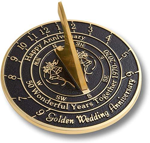 Cadran solaire pour 50e anniversaire de mariage Doré