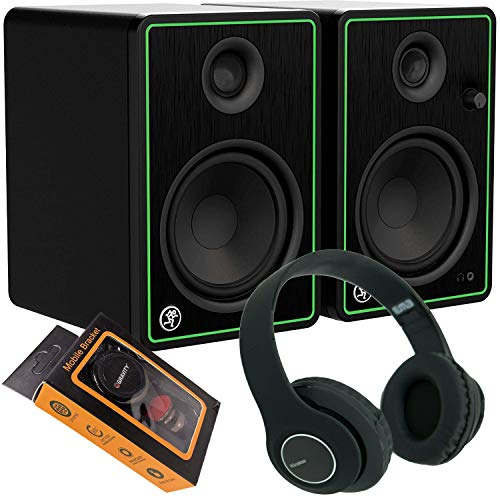 Great Features Of Mackie CR5X 5 Multimedia Monitors (Pair) + Bluetooth Headphone and Extra Bundle 9...