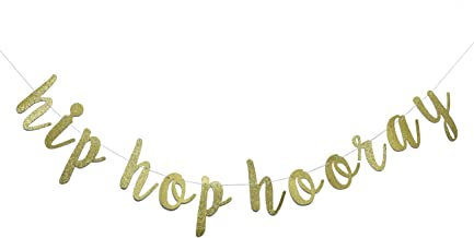 Hip Hop Hooray Gold Glitter Banner,Birthday, Play Room, Housewarming,Easter,Springtime Decor, Gallery Wall, Photo Prop (Gold)