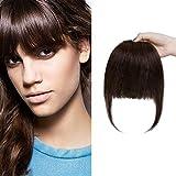 SEGO Flequillo Postizo Pelo Natural GRUESO [#2 Castaño Oscuro] Extensiones de Clip de Cabello Humano Remy Human Hair Bangs (25g)