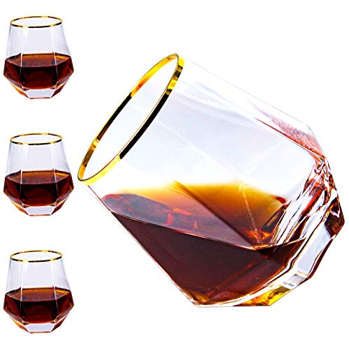 Diamond Whiskey Glasses, Set of 4 Rocks Glasses Gold Banded Cocktail Drinkware for Rum, Scotch, Bourbon or Wine Glasses, Tumblers Old Fashion Elegant Glass Unique Christmas Gifts for Women Men Family