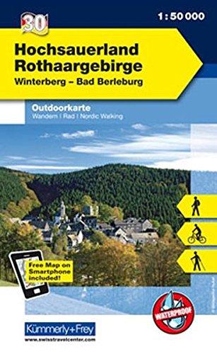 Deutschland Outdoorkarte 30 Hochsauerland Rothaargebirge 1 : 50.000: Winterberg-Bad Berleburg: Wanderwege, Radwanderwege, Nordic Walking, Skilanglauf (Kümmerly+Frey Outdoorkarten Deutschland)
