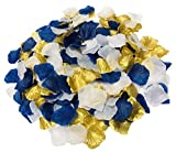 Mixed White & Dark Blue & Gold Artificial Flowers Silk Rose Petals 900PCS Flower Girl Scatter Petals for Wedding Aisle Centerpieces Table Confetti Party Decoration Bridal (White,Royal Blue ,Gold)