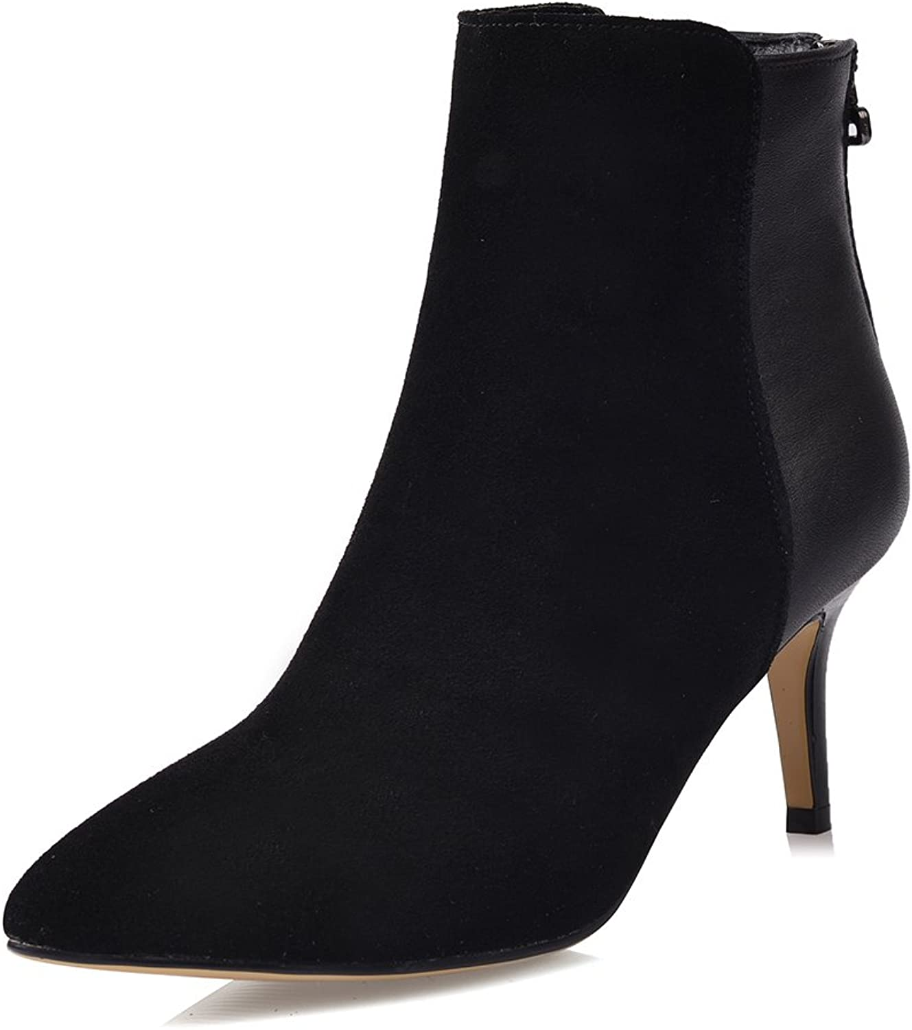 Cuckoo Leather Mid Heel Ankle Boot Rubber sole Bootie