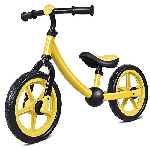Costzon Adjustable Balance Bike for Kids, No Pedal Training Bicycle for Children Ages 1,2,3, Toddlers Walking Bicycle Balancing Bikes (Yellow)