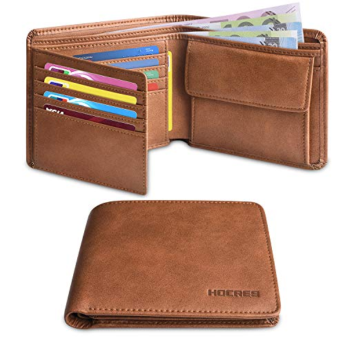 HOCRES® Wallets Mens Leather RFID Blocking Slim Wallet with 10 Credit Card, 2 Banknote...