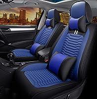 カーシートクッション カーシートは、アウディA3 / A4 / A5 / A6 / A8 / Q3 / Q5 / RS4用ユニバーサルカーシートカバーフルセット防水PUレザーカーシートクッション保護をカバー カーシートプロテクター (Color : Blue)
