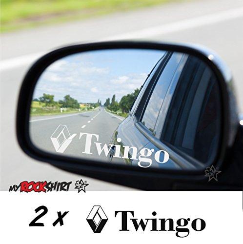 myrockshirt Renault Twingo RS 2 x Aufkleber aus Milchglasfolie Frost Gravuroptik Gravur Sticker Aussenspiegel Spiegel Aufkleber Auto