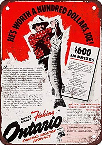ABLERTRADE 1941 Angeln in Ontario Kanada Metallschild mit Stangendekoration, 20 x 30 cm