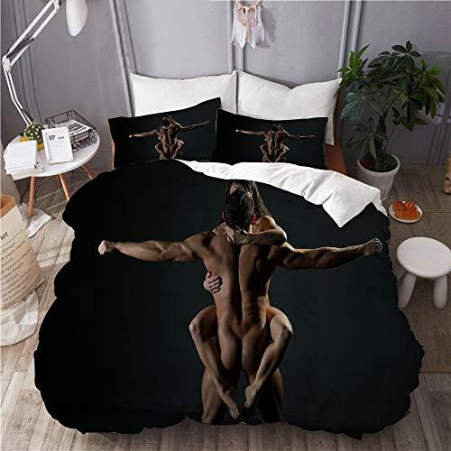 PENGTU Bettwäsche-Set, Mikrofaser,Schwarz sexy Mann Frau nackt,1 Bettbezug 135 x 200cm+ 2 Kopfkissenbezug 80x80cm