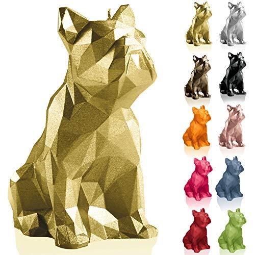 Candellana Kerze Bulldogge Low Poly   Höhe: 15 cm   Klassisches Gold   Handgemacht in der EU