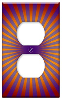 Switch Plate Outlet Cover - Retro Circle Lines Rays Orange Purple Color