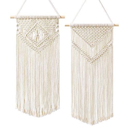 "Dahey 2 Pcs Macrame Wall Hanging Woven Tapestry Wall Art Decor - Beautiful for Boho Home Decor, Apartment, Nursery, Party Decorations, 26""L×13""W, Medium"