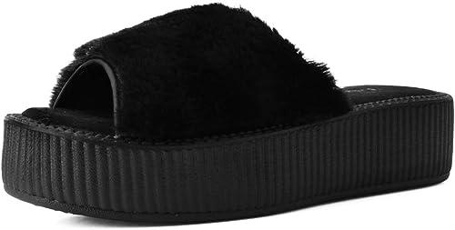 T.U.K. chaussures Femme Noir Fausse Fourrure Haute Semelle Slip sur Sandale EU40   UKW7
