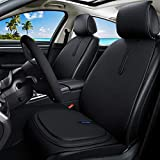 Breathable Black Leather Seat Covers Comfort Front Seat Covers + Premium All Gel Seat Cushion Relief the Pain for Car/Trucks/Office Chair 7PCS Car Seat Covers Set (C-Black) -  Haihong