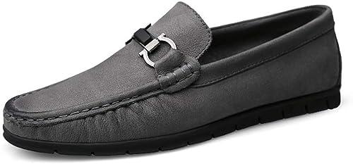 Shufang-chaussures, Chaussures Mocassins Homme 2018, Chaussures de Conduite pour Hommes avec Chaussures de Sport en Cuir et Mocassins renversés (Couleur   gris, Taille   44 EU)