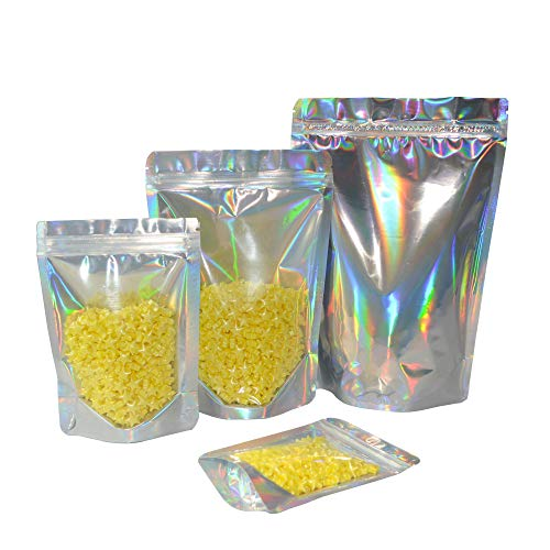 New Front Clear Laser Aluminum Foil Ziplock Bags Self Sealing Mylar Zip Lock Stand Up Reusable Food ...