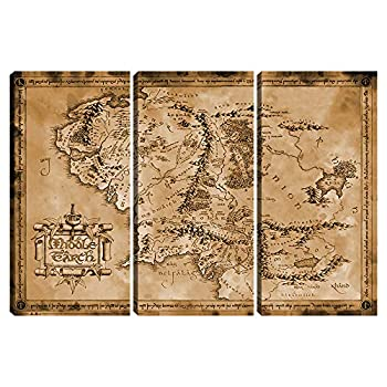Vintage Movie Map Poster Prints Wall Art Decor 3 panels Map of Middle Earth Canvas Painting Home Wall Posters for Living Room Bedroom Office Decorative Pictures Framed 24 x36