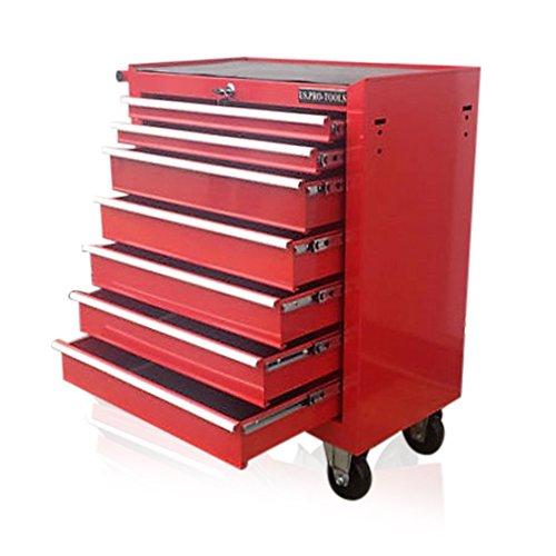 US Pro Werkzeug-Rollcontainer, 7 Schubladen, aus Stahl, Rot