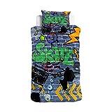 ESPiCO Wende Bettwäsche Sleep and Dream Graffiti Skater Skateboard Skate Blitz Mauer Kreise Sterne Dollar Renforcé, Größe:135 cm x 200 cm