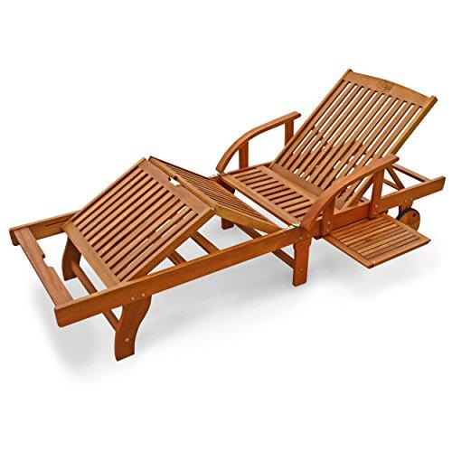 IND-70305-SL Gartenliege Sun Shine, Sonnenliege Relaxliege Bäderliege aus Holz 199 x 73 x 82 cm klappbar mit Tablett und Rollen