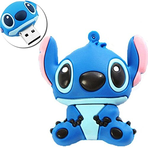 Novelty Stitch Blue Shape Design 16GB USB 2.0 Flash Drive Cute Memory Stick Stitch Thumb Drive Data Storage Pendrive Cartoon Jump Drive Gift