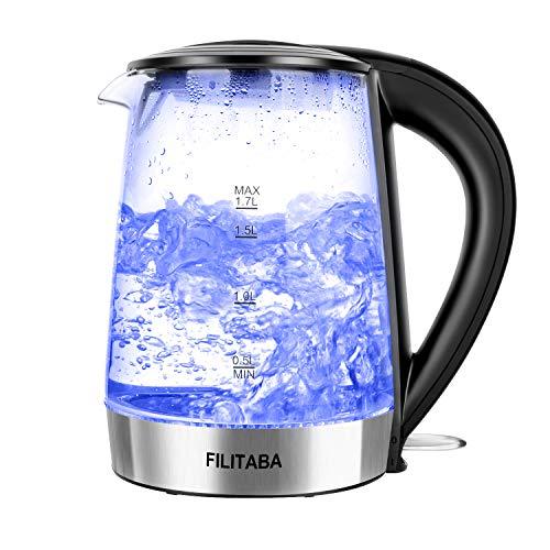 Glas Wasserkocher,1.7 L Edelstahl Glaswasserkocher mit blauer LED-Innenbeleuchtung,BPA-Frei Elektrisch Wasserkocher mit automatischer Abschaltung und Trockengehschutz, schnell kochend, FDA-Zulassung