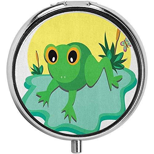Ogen Kleine Amfibieën Dier op Groot Blad en Vijver Planten met Vlinder Pil Case Ronde GevalThree-Compartment Pill Box/Case