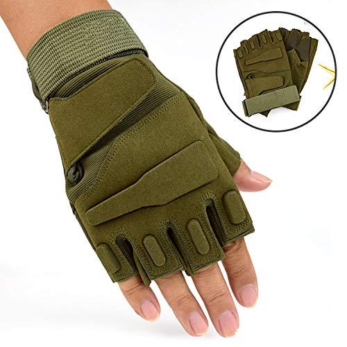 gloves@ Sports De Plein Air Gants D'Équitation Half Finger Black Hawk Gants d'alpinisme Half Fitness Fitness Alpinisme,armée Verte,XL