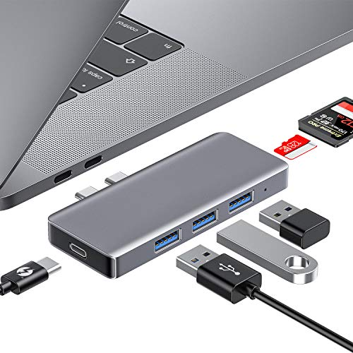 HOTUCG USB C Hub, 6 IN 1 USB C Adapter mit Thunderbolt 3 Ladeanschluss, 3 USB 3.0 Ports, SD/Micro SD Kartenleser, USB-C Adapter Hub für MacBook Pro 2020/2019/2018/2017/2016, MacBook Air 2020/2019/2018