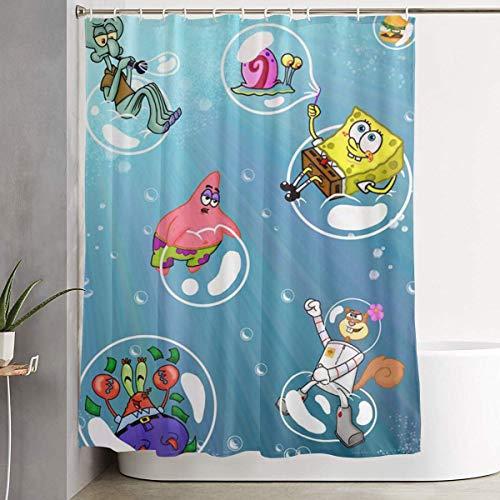 CDMT-XU1 Duschvorhang Spongebob Schwammkopf Kunstdruck, Polyester Stoff Badezimmer Dekorationen Sammlung mit Haken 60X72 Zoll