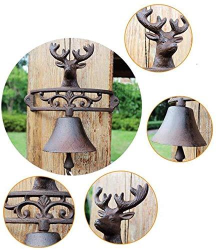 Bento Metall antike Lucky Deer dekorative Türklingel Glocke27x15x32cm Wunderschöne Gartenglocke,Metallisch
