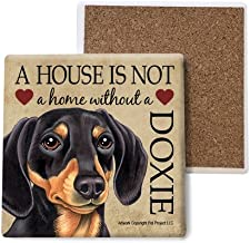 SJT ENTERPRISES, INC. Dachshund (Black and Tan) Absorbent Stone Coasters, Set of 4 (SJT24731)