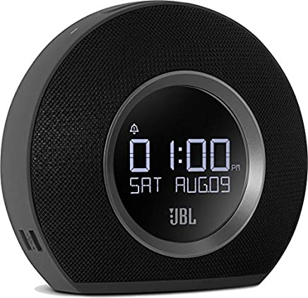 JBL Horizon BLK Radiosveglia FM Doppia, Wireless, Bluetooth con Ricarica Mediante Dock USB e Luce LED Ambiente, Sveglia Sunrise, Compatibile con Smartphone, Tablet e Dispositivi MP3, Nero