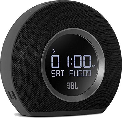 JBL Horizon Wireless Bluetooth Radiowecker mit 2 Weckern und Umgebungsbeleuchtung, FM Radio, 2 USB-Ladeanschlüssen Kompatibel mit Apple iOS und Android Smartphones, Tablets und MP3 Geräten - Schwarz