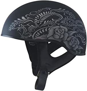 GMAX GM65 Naked Mens Half Face Street Motorcycle Helmet - Flat Black/Silver Small