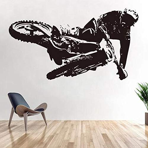 olwonow Moto-Cross Wandtattoo Motorrad Kinderzimmer Wandtattoo Tapete Wohnzimmer Art Deco Vinyl-69X123Cm
