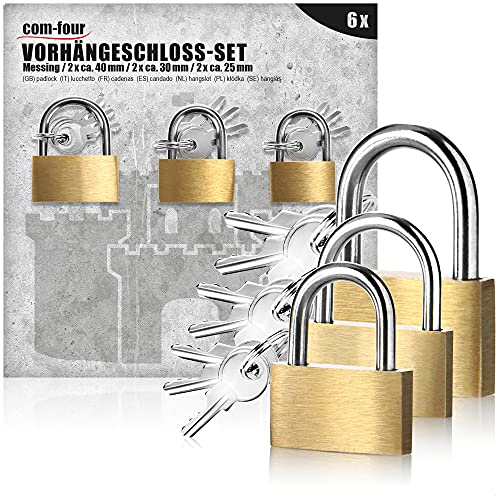 com-four® 6X Vorhängeschloss aus massivem Metall - Vorhangschloss mit Schlüssel und verschiedenen Bügelstärken