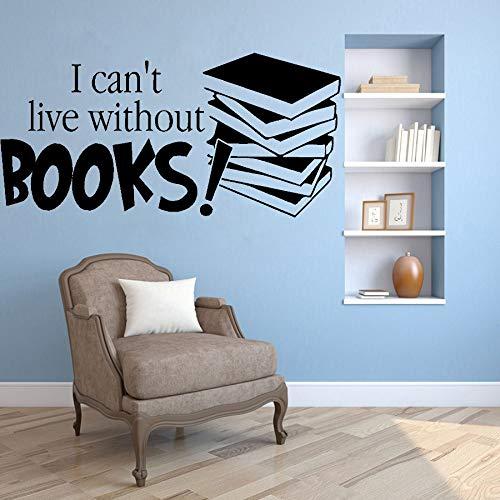 yaofale Ich kann Nicht ohne EIN Buch Leben, Buch Wandtattoos abnehmbare Wandaufkleber Schriftzug Lesewörter Kinderzimmer Jugendkleidung