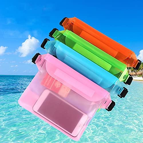 Freenfitmall Bolsa impermeable, bolsa impermeable para la cintura con pantalla táctil con cinturón ajustable para la playa, natación (transparente, 2 unidades)