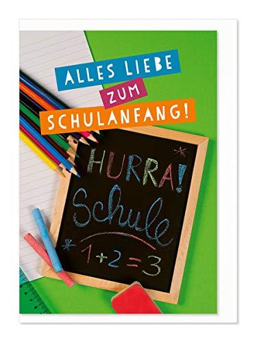 Karte zum Schulanfang/Hurra Schule/Stifte+Tafel/mit frb. Briefumschlag/Foto