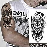 Ojos Azules de la Etiqueta engomada Impermeable del Tatuaje del Reloj brújula Lobo león Arte del Tatuaje Tatuaje Cuerpo de Mujer de Color Naranja 3pcs