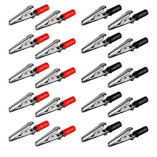 10x Krokodilklemmen Set | Rot & Schwarz | 55 mm | mit Schraube | Metall Klemmen Kunststoff Griff | Bananenstecker Abgreifklemme Clips Alligator | je 10 Stück