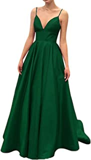 Women's Strap Prom Dress Long Satin A-Line Evening Gown With Pockets
