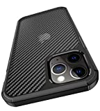 enGMOLPHY Carbon Fiber Protective Case Designed for iPhone 12 Pro Max, [Dust-Proof &Anti-Drop] Matte Translucent Hard Back Case with Black Soft TPU Bumper, Compatible with iPhone 12 Pro Max 6.7 inch